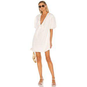 L'Academie The Amaya White Linen Blend Dress L